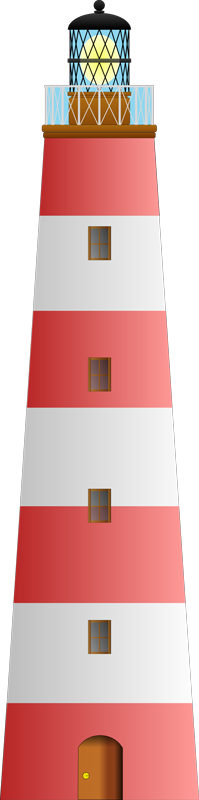 TenStickers. Red and White Lighthouse Sticker. A design illustrating a red and white lighthouse. This decorative decal from our collection of sea wall stickers is perfect for your home.