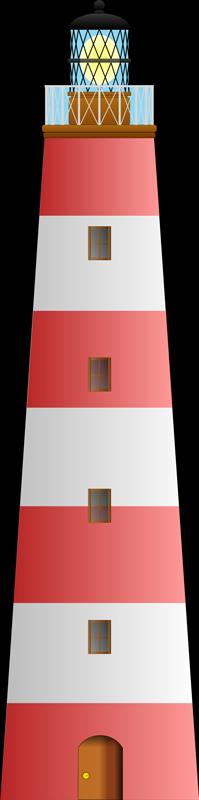 TenStickers. červená a bílá nálepka majáku. Nálepka námořní stěny ilustrující červený a bílý maják. Tento dekorativní štítek z naší sbírky samolepí námořních stěn je ideální pro váš domov