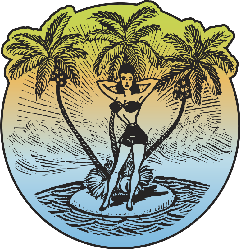TenStickers. Pin Up Beach Girl Decal. Decals - Original playful and sensual illustration of a female on a small palm tree island surrounded by the sea.