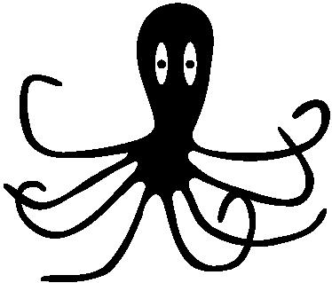 TenStickers. 孩子章鱼墙贴纸. 章鱼剪影墙贴 - 好奇的章鱼的俏皮设计。来自我们的海洋生活墙贴的集合。