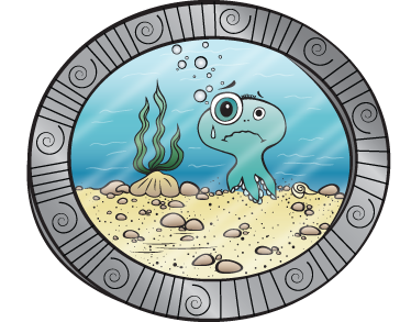TenStickers. Under the Sea Porthole Kids Sticker. A brilliant design of an underwater porthole that shows you the sea life! A decal from our collection of sea wall stickers. Open a window to the sea with this fun and playful design. Out the porthole you can see a cartoon octopus, seaweed and the seabed.