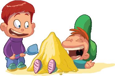 TenStickers. Autocolante infantil Meninos a brincar na areia. Um autocolante decorativo infantil ilustrando dois meninos com a brincar com areia na praia. Disponível em vários tamanhos.
