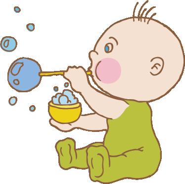 TenVinilo. Vinilo infantil burbujitas. Adhesivo de un niño pequeño jugando a hacer bombollas de jabón.