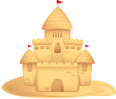 TenStickers. Sand Castle Kids Decal. Decorate your child's room with this creative wall sticker of a sandcastle with turrets and flags.