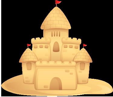 TenVinilo. Vinilo infantil castillo de arena. Espectacular fortaleza construida en la playa. Un adhesivo fantasioso y veraniego para los más pequeños.