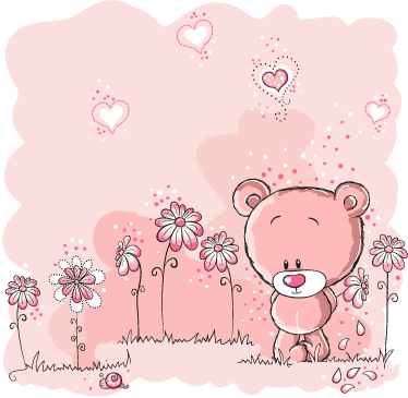 TenStickers. Teddy Bear Kids Sticker. Decorative decal of a teddy bear in a meadow with flowers and pink hearts. Superb design from our collection of teddy bear wall stickers!
