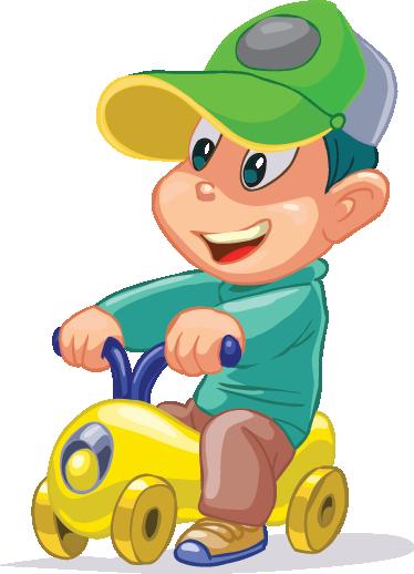 TenStickers. Adesivo bambini moto giocattolo. Simpatico sticker decorativo che raffigura un allegro bambino, seduto in sella ad una motocicletta giocattolo.