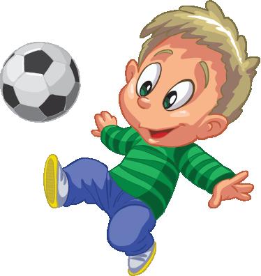 TenStickers. Adesivo murale bimbo calciatore. Sticker decorativo che raffigura un bambino dall'aria allegra, mentre gioca con il suo pallone durante la ricreazione.