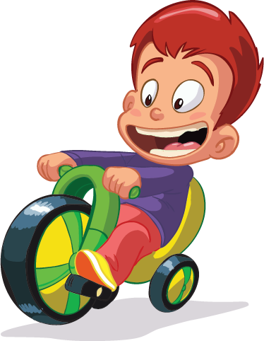 TenStickers. Boy with Bike Toy Kids Sticker. Specially designed for the little ones. A wall decal that shows a little boy on a tricycle, which runs happily through the area.