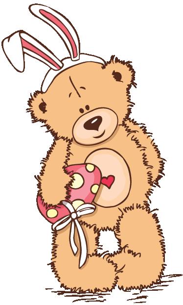 teddy bear with bunny ears kids sticker tenstickers