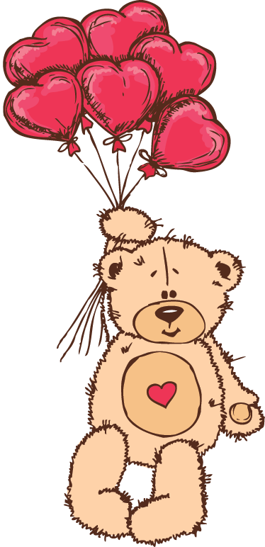 TenStickers. Loving Bear Kids Decal. Kids wall sticker of a teddy bear flying through the air holding onto six heart-shaped balloons from our collection of heart stickers. If you are looking for similar designs then make sure you also check our teddy bear wall stickers!