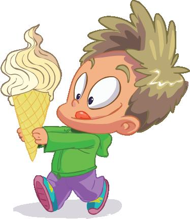 TenVinilo. Vinilo infantil cacho cucurucho. Alegre adhesivo de un goloso chico sujetando un gran helado de nata.