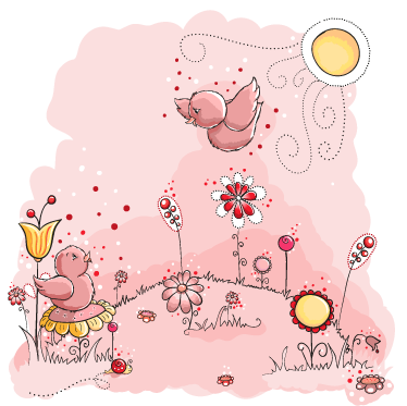 TenStickers. Pink Birds Wall Mural. Kids Wall Stickers - Cute pink illustration of a meadow filled flowerrs and two singing birds. Colourful feature for decorating areas for children.