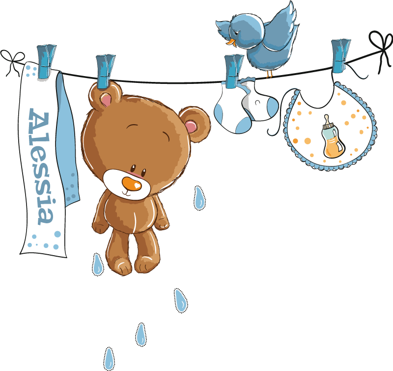 TenStickers. Bear on Washing Line Kids Sticker. A wall sticker with an illustration of a washing line with several baby related items pegged onto it. Ideal for decorating babies nurseries.