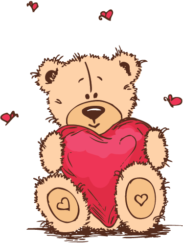 TenStickers. Loving Teddy Decorative Sticker. Teddy bear wall stickers - A cute teddy decal of a bear holding a big heart to decorate your home with. Lovely design from our collection of heart stickers.