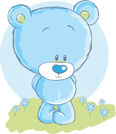 TenStickers. Blue Teddy Bear Kids Decal. A lovely blue teddy bear to decorate your children's nursery, bedroom or play area. Design from our collection of teddy bear wall stickers! Super easy to apply and leaves no residue upon removal.