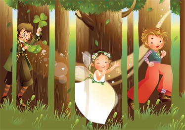 TenStickers. Sticker enfant bois magique. Photo murale en stickers illustrant une fée et des lutins jouant dans les bois.Super idée déco pour la chambre d'enfant.