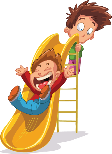 TenStickers. Kids on Slide Sticker. A children's wall decal of two little boys playing on a slide.