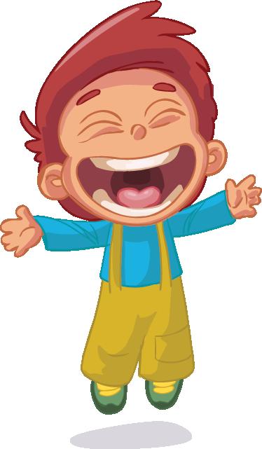 TenStickers. Adesivo bambini salto con sorriso. Sticker decorativo che raffigura un bambino mentre esulta dalla gioia. Un'illustrazione che i tuoi bambini apprezzeranno sicuramente.