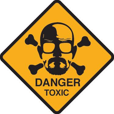 """TenStickers. Sticker Breaking Bad Danger. Een gevaar muursticker ter illustratie van een portret van Heisenberg omringd met twee botten en de tekst """"GEVAAR, giftig""""."""