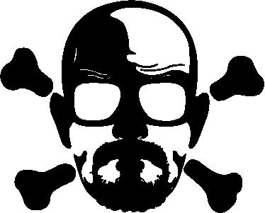 TenVinilo. Vinilo decorativo Heisenberg calavera. Espectacular adhesivo con un retrato del protagonista principal de la serie Breaking Bad en plan bandera pirata.