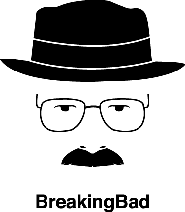TenVinilo. Vinilo decorativo síntesis breaking. Genial retrato adhesivo del protagonista de la serie americana con su característico sombrero, gafas y bigote.