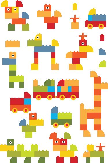TenStickers. Adesivo bambini costruzioni lego. Set di stickers decorativi che raffigurano diverse costruzioni realizzate con i mattoncini lego. Ideale per decorare la cameretta dei bambini.