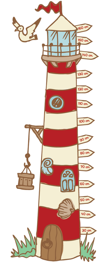 TenStickers. Lighthouse Height Chart Decal. A creative and original height chart wall sticker to decorate your child's bedroom or play area. Great lighthouse decal to keep track of how fast your child grows! Easy to apply and leaves no residue upon removal.