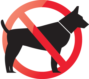 TenStickers. No Dogs Allowed Sign Sticker. A very useful sign sticker that will let everyone know that dogs are not allowed in your store or home. Decorate any smooth surface such as the windows of your store. Easy to apply and leaves no residue upon removal, even on windows!