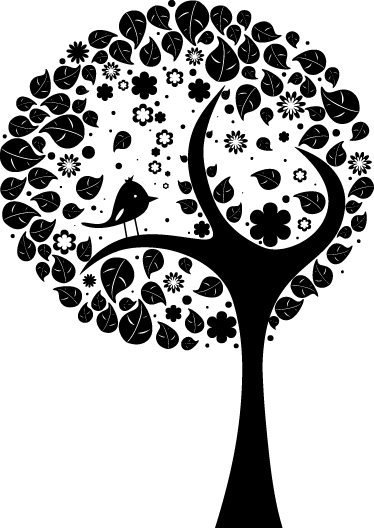 TENSTICKERS. 円の木と鳥の壁のステッカー. ウォールステッカー-サークルカットツリーの鳥のイラスト。どの部屋でも特徴的な機能。さまざまなサイズで利用できます。