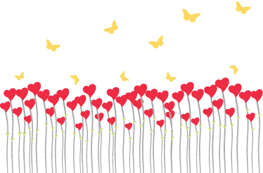 TenStickers. Field of Hearts Wall Sticker. Heart shape flowers under fluttering butterflies from our collection of heart wall stickers to decorate your wall!