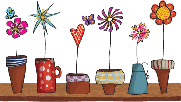 TenStickers. Flower Pots Wall Stickers. A collection of flower pots on a shelf. Brilliant flower wall stickers to decorate those empty spaces at home or in your office.