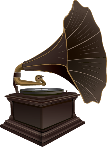 TenStickers. Old Gramophone Wall Sticker. Wall Stickers - Illustration of an old vintage gramophone. Retro feature ideal for music and antiques lovers.