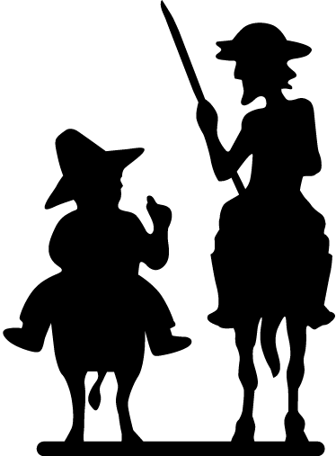 TenStickers. Sticker of Don Quixote and Sancho. If you are a fan of the work of the great Cervantes grab this monochrome sticker to let other drivers know.