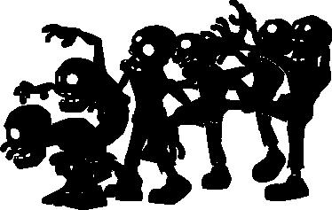 TenStickers. Autocolante decorativo infantil zombies. Autocolante decorativo infantil ilustrando um conjunto de zombies inofensivos, ideal para decorar espaços de festas como o Halloween.