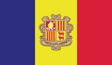 TenStickers. Sticker drapeau andorre. Sticker représentant le drapeau de l'Andorre, une des plus petites nations d'Europe à la frontière de la France et de l'Espagne.