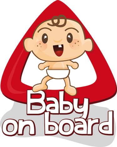 TenStickers. Baby on Board Car Sticker. Baby on Board car sticker to show the drivers around you that you have a child riding in the car with you and they should be even more careful. This fun wall sticker is practical and clear as well as eye-catching and visually appealing.
