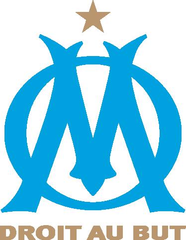"""TenStickers. Sticker écusson OM. Supporter de L'Olympique de Marseille ? Personnalisez votre espace avec le célèbre logo du club et son slogan """"Droit au but""""."""
