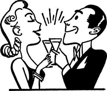 TenStickers. Couple Toasting Wall Sticker. Kitchen Stickers - A 50s inspired illustration of a lady and a gentleman toasting. Cheers. Decals great for decorating your kitchen or dinning area.