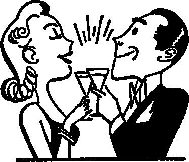 TenStickers. 커플 토스트 벽 스티커. 주방 스티커-50 대 여성과 신사 토스트의 영감을 그림. 건배. 부엌이나 식사 공간을 꾸미기에 좋습니다.
