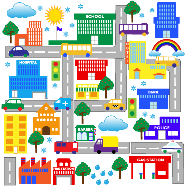 TenStickers. City Roads Kids Decal. Great children's wall sticker illustrating the big streets of the city with various vehicles! Great to decorate the bedroom of the little ones.
