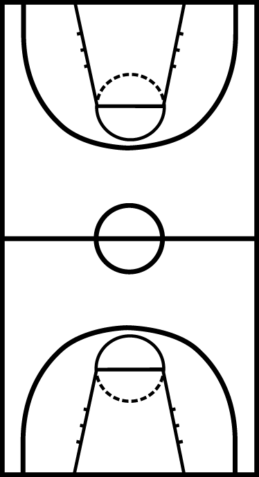 TenStickers. 농구 코트 스티커. 이 오리지널 스티커로 최고의 공격 및 방어 전략을 재현하십시오.