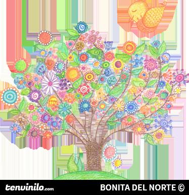 TenVinilo. Vinilo infantil árbol primavera. Colorido y original dibujo autoadhesivo hecho a lápiz y a mano por la dibujante Bonita del Norte.