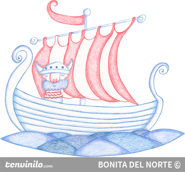 TenStickers. Viking Ship Sticker. Spectacular sticker of a Scandinavian ship controlled by a brave warrior. Creative sticker for your children.