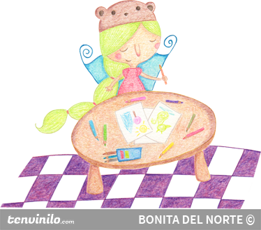 TenStickers. Girl at School Illustration Sticker. Illustration by Bonita del Norte of a girl prepared to do some drawing and colouring at her desk in school.