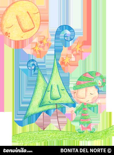 TenVinilo. Vinilo infantil duende navidad. Dibujo hecho a lápiz y preparado para adhesivo. De una ilustración original de Bonita del Norte.