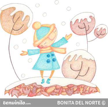 TenStickers. Girl in Winter Sticker. Beautiful children's sticker with a drawing by Bonita del Norte, in which a little girl is playing in the snow.
