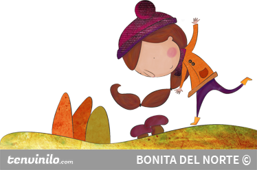 TenStickers. Girl in Autumn Sticker. Great illustration by Bonita del Norte of a little girl enjoying a chilly walk in the countryside during Autumn.