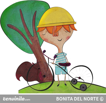 TenStickers. Little Boy with Bicycle Sticker. Original illustration by Bonita del Norte of an adventurous boy on his bicycle near a tree.