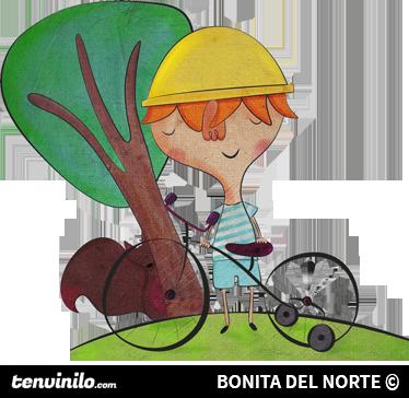 TenStickers. 自行车的小男孩贴纸. 原始的插图由一个冒险的男孩bonita del norte骑着他的自行车在树附近。